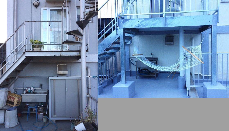 3F玄関前の踊り場を広く取ることでバルコニーにリラックススペースを確保した。