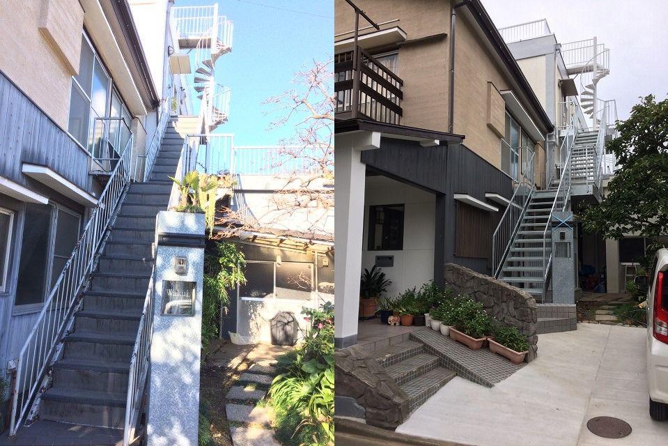 鉄骨階段更新工事の施工前後写真